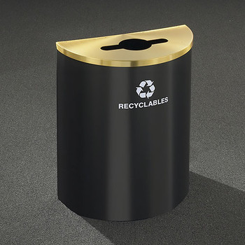 Glaro RecyclePro Profile Half Round Recycling Bin - 28-1/2 x 24 x 12 - 29 Gallon - M2499  - finished in Satin Bacl with a Satin Brass top