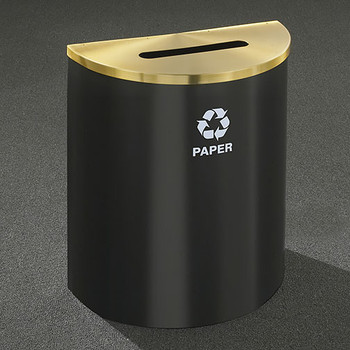 Glaro RecyclePro Profile Half Round Recycling Bin - 28-1/2 x 24 x 12 - 29 Gallon - P2499 - finished in Satin Black with a Satin Brass top