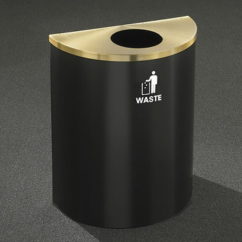 Glaro RecyclePro Profile Half Round Waste Bin - 28-1/2 x 24 x 12 - 29 Gallon - W2499 - finished in Satin Black with a Satin Brass top