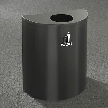 Glaro RecyclePro Profile Half Round Waste Bin - 28-1/2 x 24 x 12 - 29 Gallon - W2499 - finished in Satin Black