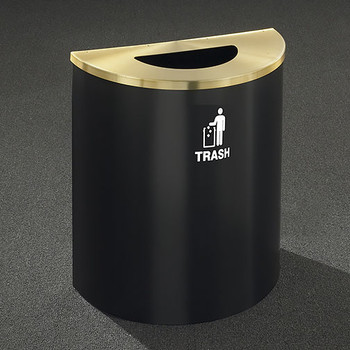 Glaro RecyclePro Profile Half Round Waste Bin - 28-1/2 x 24 x 12 - 29 Gallon - T2499 - finished in Satin Black with a Satin Brass top