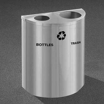 Glaro RecyclePro Profile Half Round Dual Purpose Recycling Station - 28-1/2 x 24 x 12 - 29 Gallon - BW2499SA