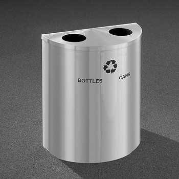Glaro RecyclePro Profile Half Round Dual Purpose Recycling Station - 28-1/2 x 24 x 12 - 29 Gallon - BC2499SA