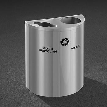 Glaro RecyclePro Profile Half Round Dual Purpose Recycling Station - 28-1/2 x 24 x 12 - 29 Gallon - MW2499SA