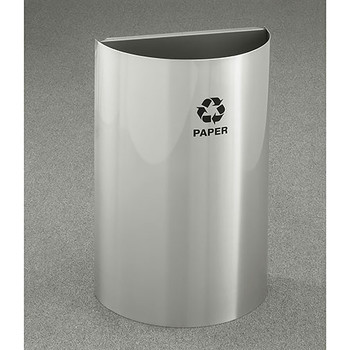 Glaro RecyclePro Profile Half Round Open Top Recycling Bin - 18 x 30 x 9 - 16 Gallon - RO1899SA