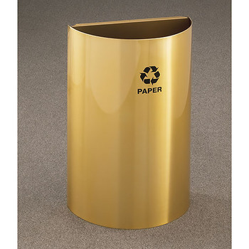 Glaro RecyclePro Profile Half Round Open Top Recycling Bin - 18 x 30 x 9 - 16 Gallon - RO1899BE