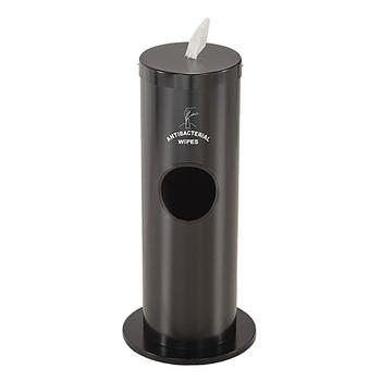 Glaro Antibacterial Wipe Dispenser F1029SBK - Floor Standing with Trash Can and Silk Screened Sign - Satin Black