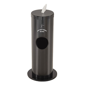 Glaro Antibacterial Wipe Dispenser F1029SBK - Floor Standing with Trash Can and Silk Screened Sign - Satin Black