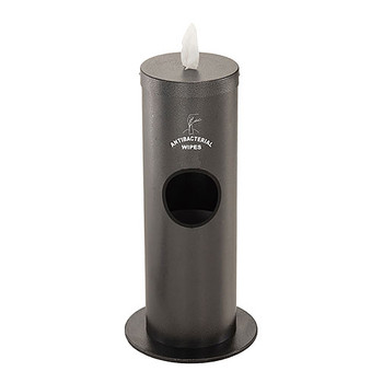 Glaro Antibacterial Wipe Dispenser F1029SSV - Floor Standing with Trash Can and Sign - Silver Vein