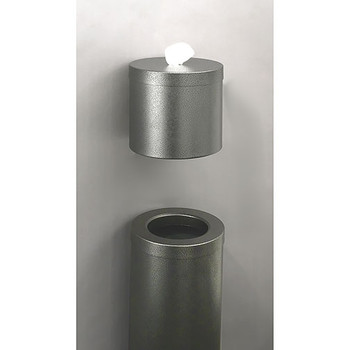 Glaro Wall Mounted Antibacterial Wipe Dispenser - W1015SV - Paired with the WasteMaster Funnel Top Trash Can - F1024SV - finished in Silver Vein
