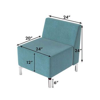 Woodstock Jefferson Straight Chair - Measurements - Light Blue