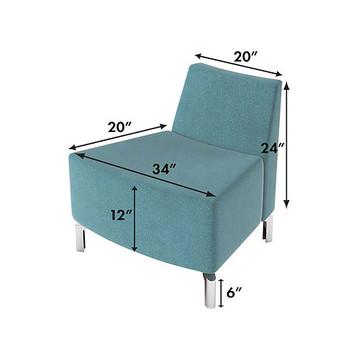 Woodstock Jefferson Outside Curve Chair - Measurements - Light Blue