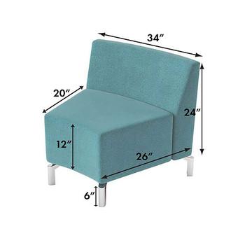Woodstock Jefferson Inside Curve Chair - Measurements - Light Blue