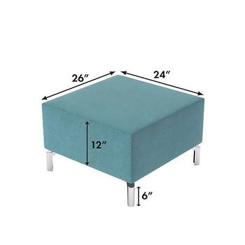 Woodstock Jefferson Ottoman - Measurements - Light Blue