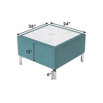 Woodstock Jefferson Rectangular Table - Measurements - Light Blue