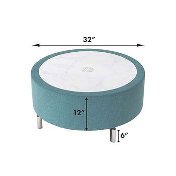 "Woodstock Jefferson 32"" Round Coffee Table - Measurements - Light Blue"