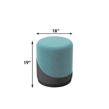 Woodstock Jefferson Upholstered Stool - Measurements - Light Blue