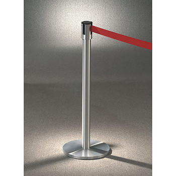 Glaro Extenda-Barrier Flat Base Post Retractable Strap Barrier with 13' Strap - 152SA - Finished in Satin Aluminum with a Red Belt