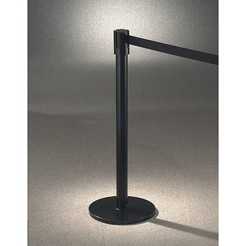 Glaro Extenda-Barrier Flat Base Post Retractable Strap Barrier with 13' Strap - 152BK - Finished in Satin Black with a Black Belt