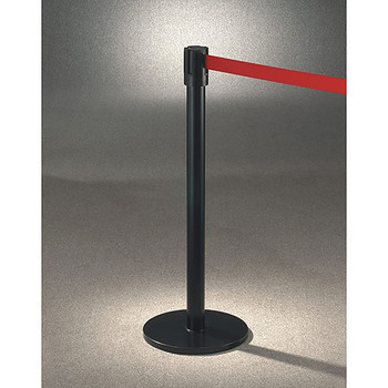 Glaro Extenda-Barrier Flat Base Post Retractable Strap Barrier with 13' Strap - 152BK - Finished in Satin Black with a Red Belt