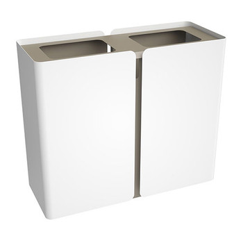 Peter Pepper SRT Stream Tall Recycling Center - Dual Stream finished in Bright White with  Aluminum Metallic Top