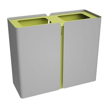 Peter Pepper SRT Stream Deskside Recycling Center - Dual Stream in Aluminum Metallic with Lemongrass Top
