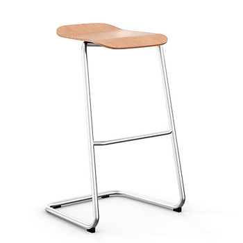 Peter Pepper StackR Stacking Stool with Ash Seat and Chrome Frame