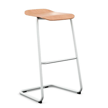 Peter Pepper StackR Stacking Stool with Ash Seat and White Frame