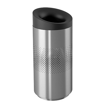 Peter Pepper Tilt Trash Can TL-T-SS - Top Opening - Stainless Steel- 20 x 43 - 30 Gallon - with Optional Perforated Sides  Image shown is the Stainless Steel model with optional perforated sides to illustrate design.