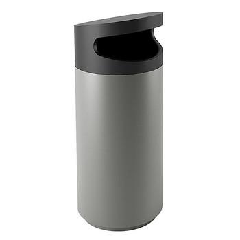 Peter Pepper Tilt Round Recycling Bin TL-S-R - Side Opening - Aluminum Metallic - 20 x 47 - 30 Gallon