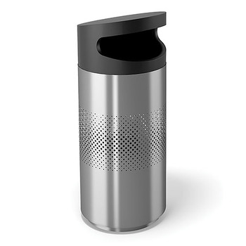 Peter Pepper Tilt Round Recycling Bin TL-S-R-SS - Side Opening - Stainless Steel - with Optional Perforated Sides  Image shown is the Stainless Steel model with optional perforated sides to illustrate design.