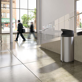 Peter Pepper Tilt Round Recycling Bin TL-S-R-SS - Side Opening - Stainless Steel