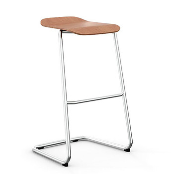 Peter Pepper StackR Stacking Stool with Light Walnut Seat and Chrome Frame