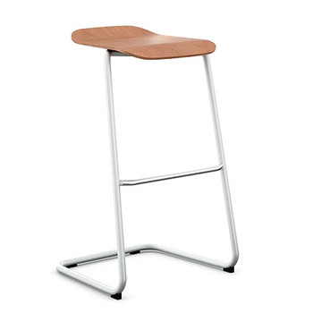 Peter Pepper StackR Stacking Stool with Light Walnut Seat and White Frame