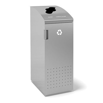 Peter Pepper ReSort Recycling Bin- RS14 - Finished in Aluminum Metallic Powder Coat - Commingled Recycling Opening