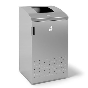 Peter Pepper ReSort Recycling Station - RS20 - Finished in Aluminum Metallic Powder Coat - Waste Opening