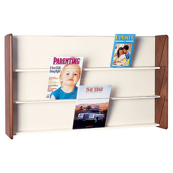 Peter Pepper 433P - 3 Pocket Wall Mounted Horizontal Magazine Rack - Clear Acrylic Front Panels Please note: This image is used to illustrate design but does not have the radius edge side panels of the 483P.