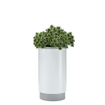 Magnuson Cirkel Planter in Mixed Finish - White Body with Silver Top Ring and Base
