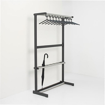 "Magnuson Tertio Coat Rack T-EV/K-100-UMB - 40"" - Free Standing - Single Sided - 10 Hangers Included - Aluminum Shelf - Umbrella Stand"