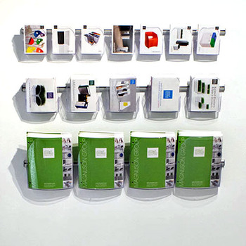 Magnuson Dacapo Brochure Holder Grouping - Top to Bottom: 7 A6 Pockets, 5 A5 Pockets, 4 A4 Pockets, All on 39 Inch Rails