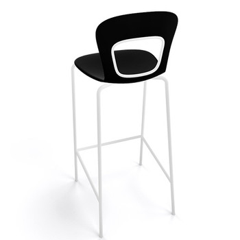 Magnuson Rivista Black Stacking Bar Stool - Outdoor - Back View
