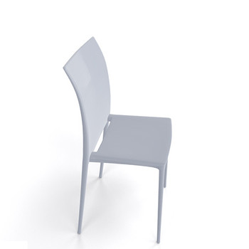 Magnuson Lucido SO Pearl Grey Stacking Chair - Side View