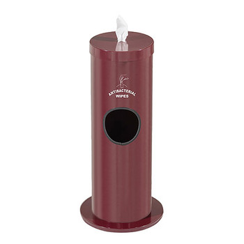 Glaro Antibacterial Wipe Dispenser F1029S-BY - Floor Standing with Trash Can and Silk Screened Sign - Finished in Burgundy