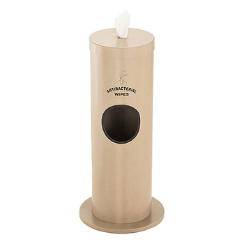 Glaro Antibacterial Wipe Dispenser F1029S-DS - Floor Standing with Trash Can and Silk Screened Sign - Finished in Desert Stone