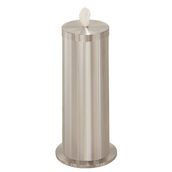 Glaro Antibacterial Wipe Dispenser F1027SA - Floor Standing with Wipe Storage - Finished in Satin Aluminum