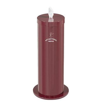 Glaro Antibacterial Wipe Dispenser F1027SBY - Floor Standing with Wipe Storage and Silk Screened Sign - Burgandy