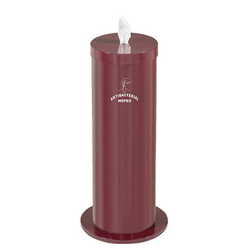 Glaro Antibacterial Wipe Dispenser F1027SBY - Floor Standing with Wipe Storage and Silk Screened Sign - Burgandy