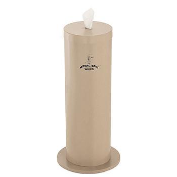 Glaro Antibacterial Wipe Dispenser F1027SDS - Floor Standing with Wipe Storage and Silk Screened Sign - Desert Stone