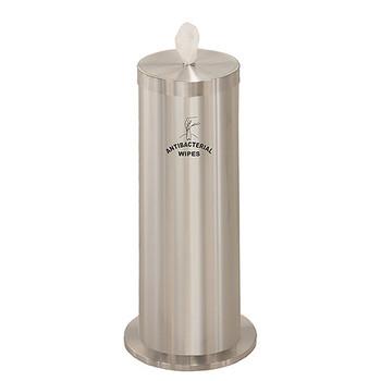 Glaro Antibacterial Wipe Dispenser F1027SSA - Floor Standing with Wipe Storage and Silk Screened Sign - Satin Aluminum