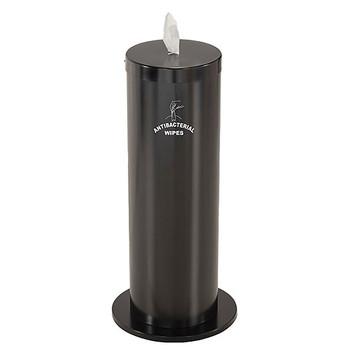 Glaro Antibacterial Wipe Dispenser F1027SBK - Floor Standing with Wipe Storage and Silk Screened Sign - Satin Black